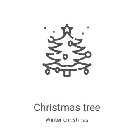 christmas tree icon vector from winter christmas collection. Thin line christmas tree outline icon vector illustration. Linear symbol for use on web and mobile apps, logo, print media