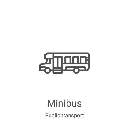 minibus icon vector from public transport collection. Thin line minibus outline icon vector illustration. Linear symbol for use on web and mobile apps, logo, print media Illustration