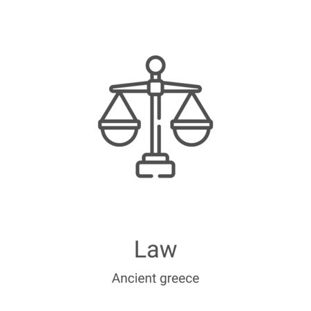 law icon vector from ancient greece collection. Thin line law outline icon vector illustration. Linear symbol for use on web and mobile apps, logo, print media