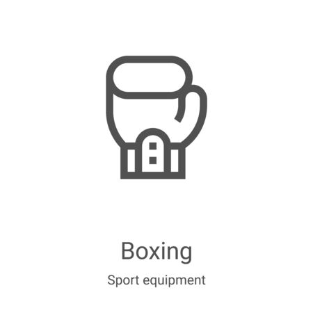 boxing icon vector from sport equipment collection. Thin line boxing outline icon vector illustration. Linear symbol for use on web and mobile apps, logo, print media