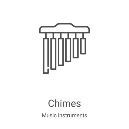 chimes icon vector from music instruments collection. Thin line chimes outline icon vector illustration. Linear symbol for use on web and mobile apps, logo, print media Illustration