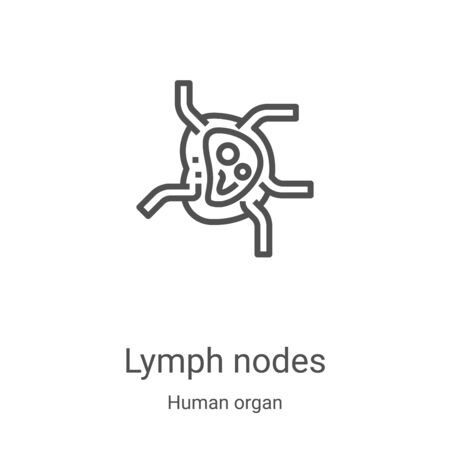 vecteur d'icône de ganglions lymphatiques de la collection d'organes humains. Les ganglions lymphatiques en ligne mince décrivent l'illustration vectorielle de l'icône. Symbole linéaire à utiliser sur les applications Web et mobiles, le logo, les médias imprimés