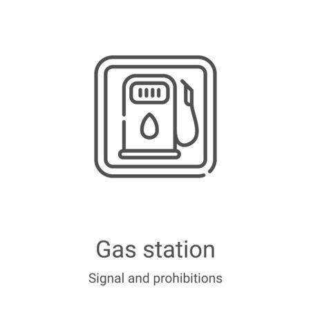 gas station icon vector from signal and prohibitions collection. Thin line gas station outline icon vector illustration. Linear symbol for use on web and mobile apps, logo, print media