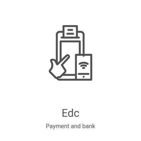 EDC icon vector from payment and bank collection. Thin line EDC outline icon vector illustration. Linear symbol for use on web and mobile apps, logo, print media