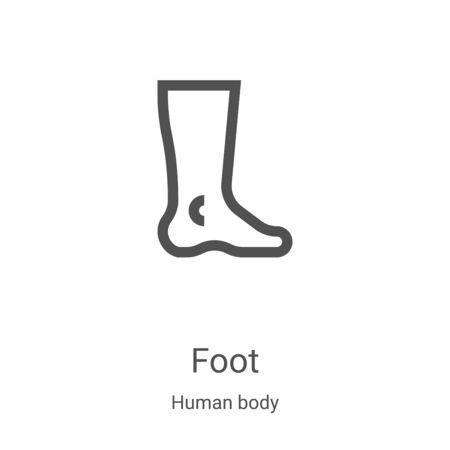 foot icon vector from human body collection. Thin line foot outline icon vector illustration. Linear symbol for use on web and mobile apps, logo, print media 向量圖像