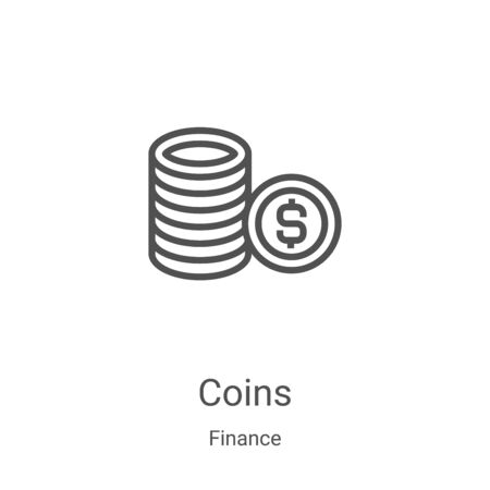 coins icon vector from finance collection. Thin line coins outline icon vector illustration. Linear symbol for use on web and mobile apps, logo, print media