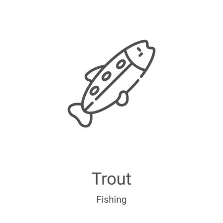 trout icon vector from fishing collection. Thin line trout outline icon vector illustration. Linear symbol for use on web and mobile apps, logo, print media