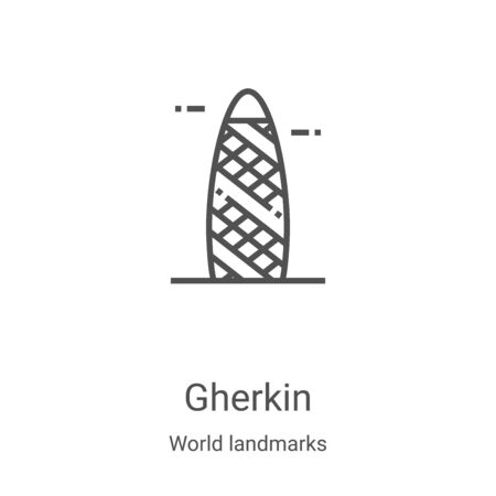 gherkin icon vector from world landmarks collection. Thin line gherkin outline icon vector illustration. Linear symbol for use on web and mobile apps, logo, print media