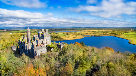 Dromore Castle, Limerick, Ireland. Dromore Castle is a very distinctive building located on a hill overlooking two lakes in Co. Limerick.
