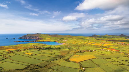Aerial view of Clogher beach, Sybil Head Dingle Peninsula, County Kerry, Ireland