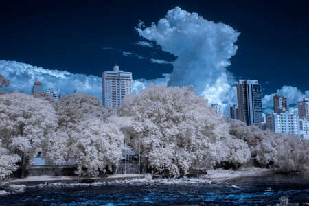 Piracicaba River and city in infrared - IR - 720nm