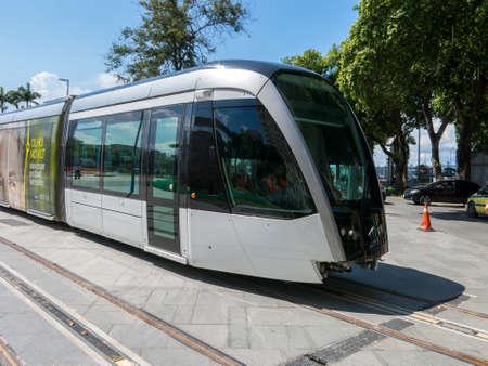 RIO DE JANEIRO, BRAZIL - MARCH 18, 2016 - New Rio de Janeiro tram in test in Maua square (praca Maua)