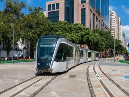 RIO DE JANEIRO, BRAZIL - MARCH 18, 2016 - New Rio de Janeiro tram in test in Maua square (praca Maua) Sajtókép