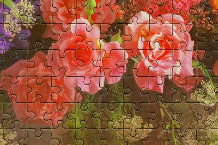 Assembled puzzle colored pieces Standard-Bild