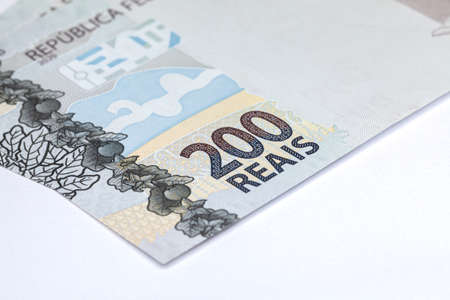 Newly launched 200 Reais brazilian note money bill close up details Stock fotó