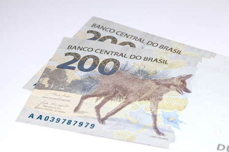 Newly launched 200 Reais brazilian note money bill close up details