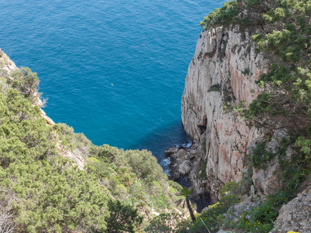 The rocky peninsula of Capo Caccia, with high cliffs, is located near Alghero; in this area there are the famous Neptune's Caves Stockfoto