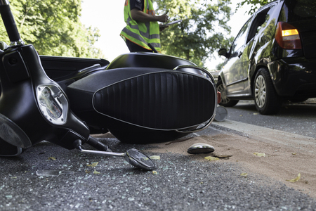 road accident with engine scooter