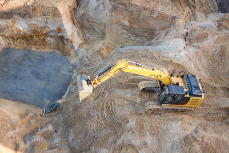 aerial view of a yellow digger Stock Photo