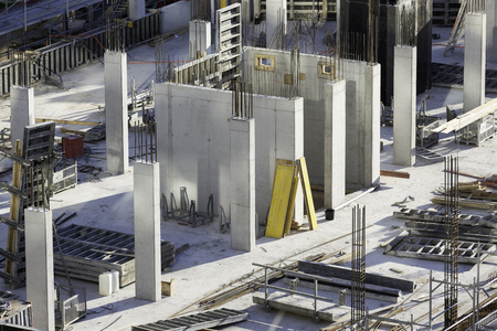 in-situ walls on construction site