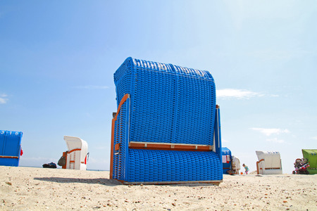 blue chair on the beach Stock Photo
