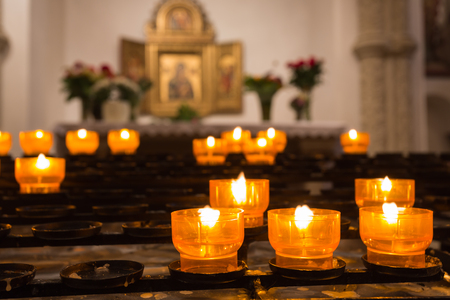 victim candles in a catholic church