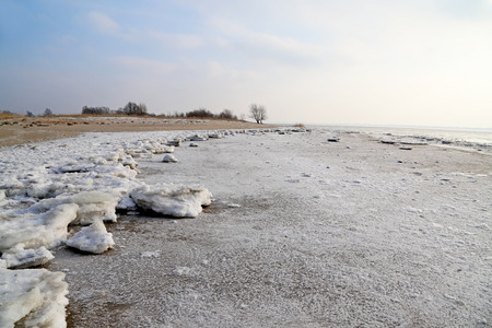 drift ice on the beach of river elbe Stok Fotoğraf