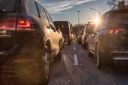 SUV in heavy morning city traffic