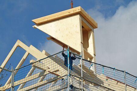 Dormer installation on rooftop