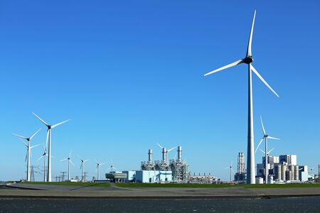 Wind turbines and plants in the energy park Eemshaven