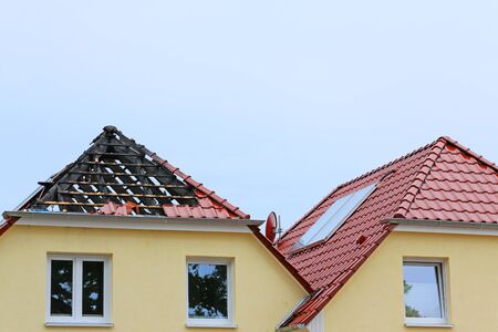 Fire damage on the rooftop of semi detached house