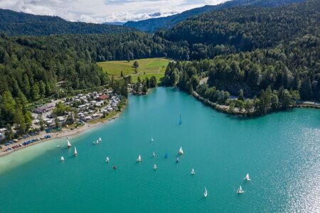 Aerial view of campsite at Walchensee lake