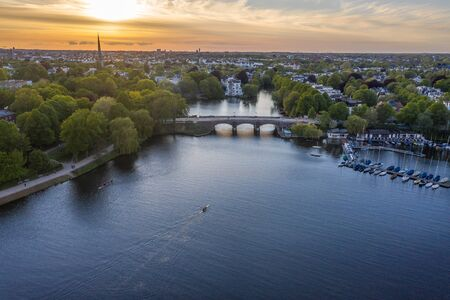 Aerial view of Alster lake estuary in the evening