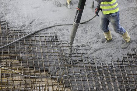 Distribution of fresh concrete with a tube Zdjęcie Seryjne