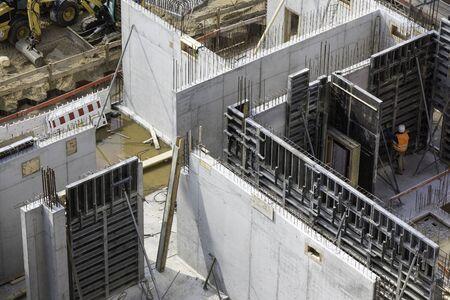 Concrete walls on construction site