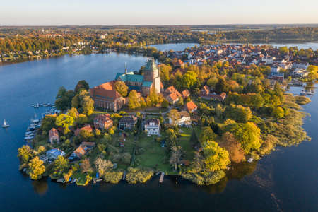 Aerial view of Ratzeburg in the evening