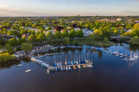 Aerial view of landing stage on alster lake