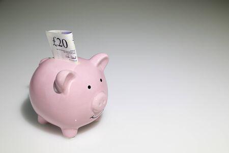 20 pound note in a piggy bank Zdjęcie Seryjne