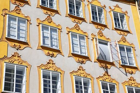 Facade of the birthplace of famous composer Wolfgang Amadeus Mozart