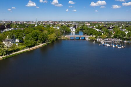 Aerial view of alster lake in Hamburg
