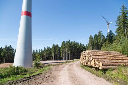 Wind turbines in the forest Zdjęcie Seryjne