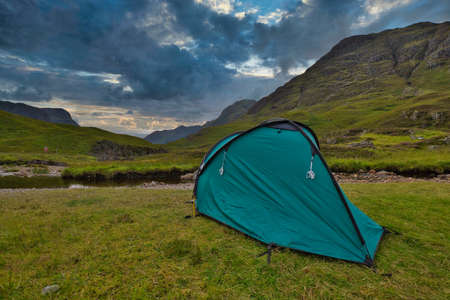green tent in the scottish highlands