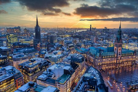 Aerial view of Hamburg city center in the evening
