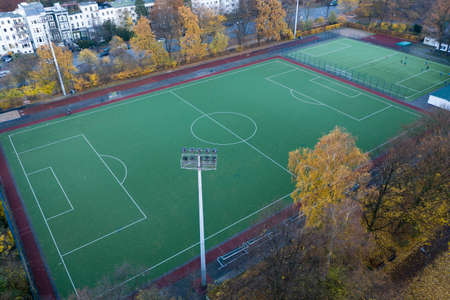 aerial view of a soccer field with artificial turf