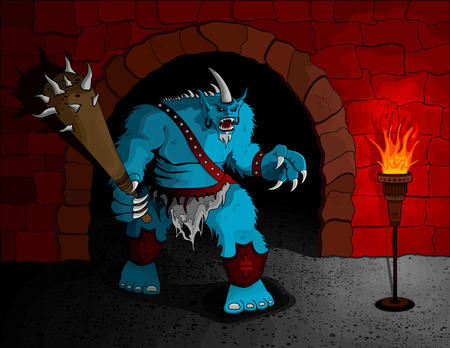 dungeon: A giant troll equipped with a huge club guards his dungeon. No gradients were used in this illustration. Illustration is separated on layers for easy editing.