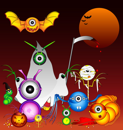 A collection of Halloween monsters that seem to thrive off of candy corn. Vector