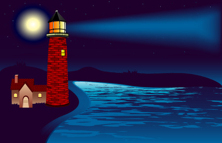 An illustration of a lighthouse shining its light in the night. Moonlight is reflected in the water and stars shine in the background. Gradient Mesh used in the spotlight from the lighthouse. Vector