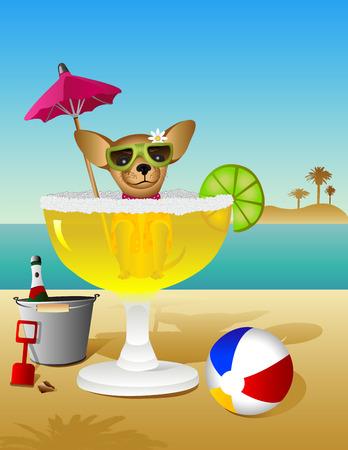 치와와 해변에서 휴가를 마가리타 목욕을 걸립니다.