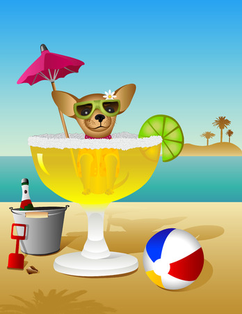 A Chihuahua takes a margarita bath while vacationing on the beach.