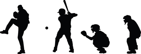 Silhouettes of a pitcher, hitter, catcher, and umpire